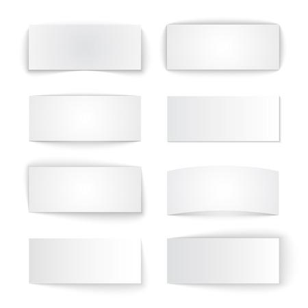 Set van geïsoleerde blanco papier banners met transparante schaduwen op een witte achtergrond. RGB vector illustratie