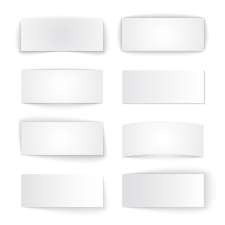 Set of isolated blank paper banners with transparent shadows on white background. RGB  vector illustration