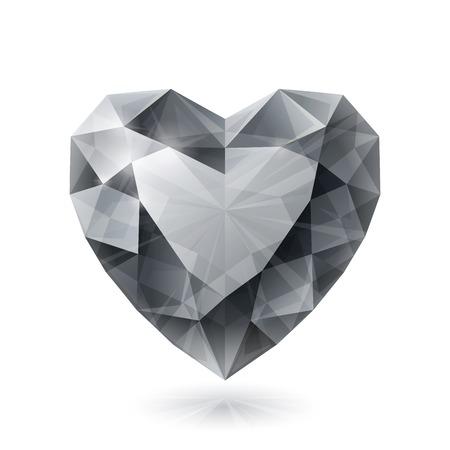 coeur diamant: Brillant isol� forme de coeur de diamant sur fond blanc. RVB EPS 10 illustration vectorielle