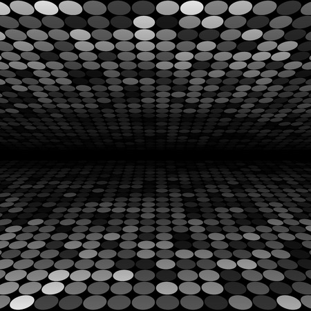 perspective grid: Abstract black, white and grey disco circles background. RGB  vector illustration