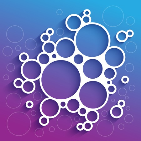 Abstract infographics white circles with shadow on blue and purple background. RGB vector illustration Ilustrace