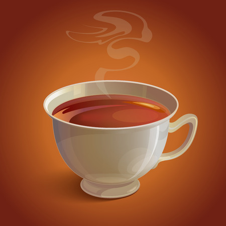 vapor: Isolated realistic white tea cup with vapor on brown background. RGB   vector illustration