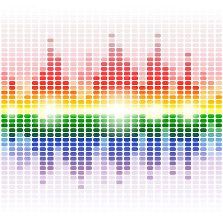 白い背景のデジタルイコライザーを輝く虹。RGB のベクトル図
