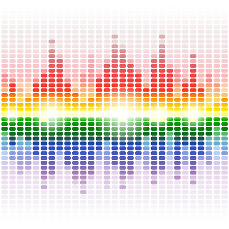musica electronica: Arco iris brillante ecualizador digital sobre fondo blanco. RGB ilustración vectorial