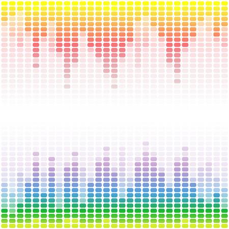 Rainbow digital equalizers on white background. RGB  vector illustration Illustration