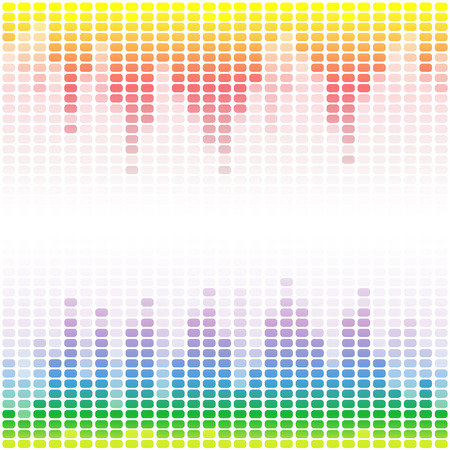 Rainbow digital equalizers on white background. RGB  vector illustration Illustration