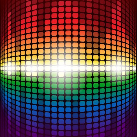 volume glow light: Shining rainbow digital equalizer with flares on black background. RGB  vector illustration