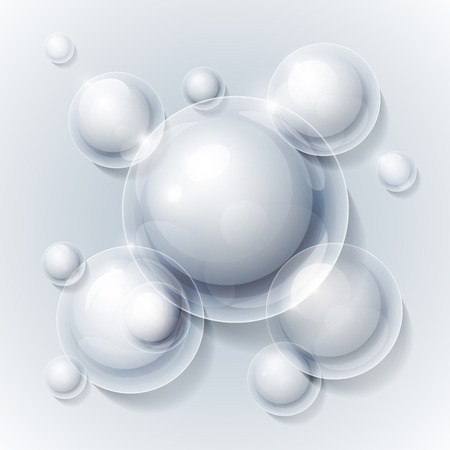 Realistic shiny transparent water drop bubbles on grey background. RGB EPS 10 vector illustration Vector