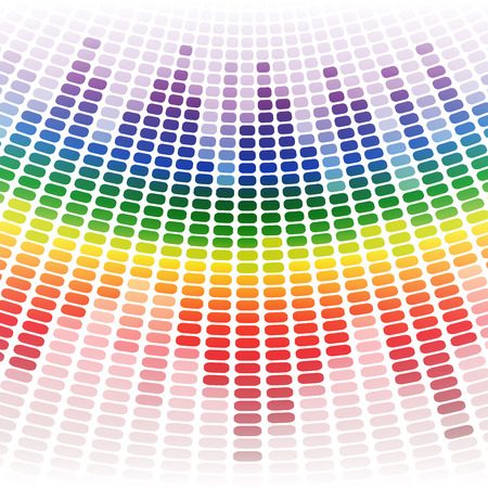 rainbow vector: Rainbow warped digital equalizer on white background. RGB EPS 10 vector illustration Illustration