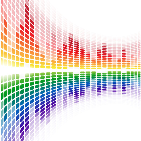 analyzer: Rainbow warped digital equalizer on white background. RGB EPS 10 vector illustration Illustration