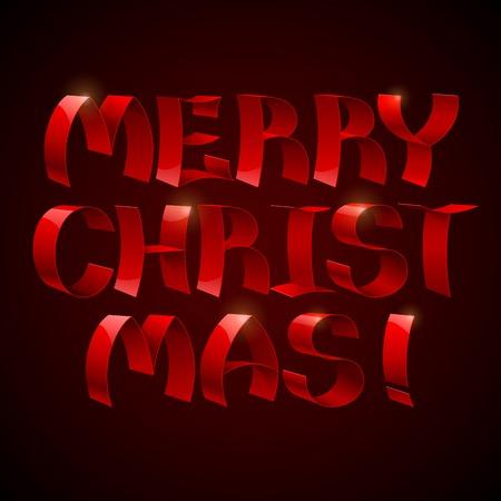 merry christmas text: Aislado cintas rojas brillantes 3d texto Feliz Navidad en fondo negro. RGB EPS 10 ilustraci�n vectorial