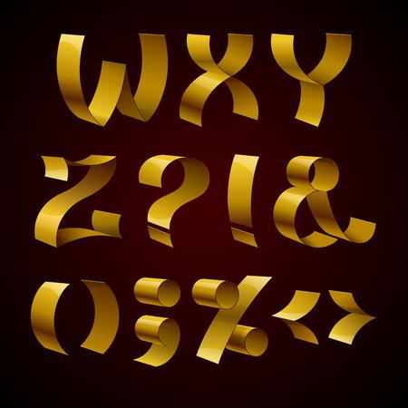 luxo: Jogo de fita dourada brilhante letras font WZ isoladas e sinais de pontuação. RGB EPS ilustração 10 vector Ilustração