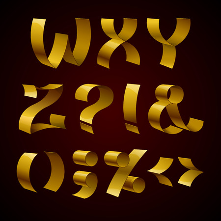 lux: Set of isolated golden shiny ribbon font W-Z letters and punctuation marks. RGB EPS 10 vector illustration