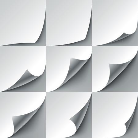 Set van 9 wit papier gekruld hoeken met realistische schaduwen. RGB EPS 10 vector illustratie