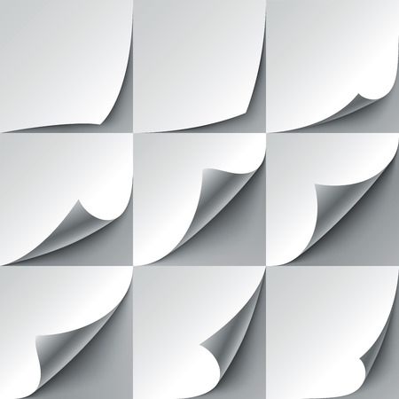 Set of 9 white paper curled corners with realistic shadows. RGB EPS 10 vector illustration Illustration