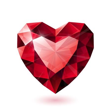 Glanzende geïsoleerde rode robijn hartvorm op een witte achtergrond. RGB EPS 10 vector illustratie