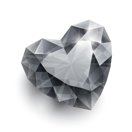 coeur diamant: Brillant isol�e en forme de coeur de diamant avec l'ombre sur fond blanc. EPS RVB 10 illustration vectorielle