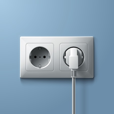 Electric white plug and socket on blue wall background. RGB EPS 10 vector illustration