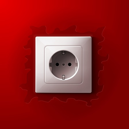 wall socket: Realistic electric white socket on red wall background. RGB EPS 10 vector illustration Illustration