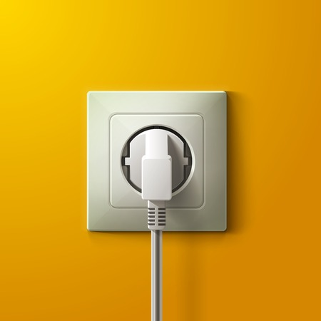 Realistic electric white socket and plug on yellow wall background. RGB EPS 10 vector illustration