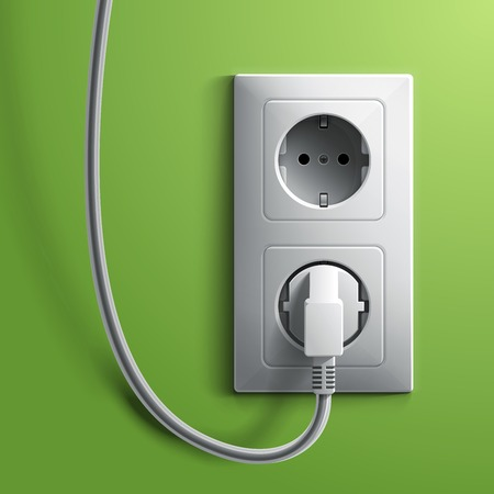 Electric white plug and socket on green wall background. RGB EPS 10 vector illustration