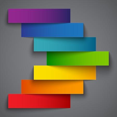 Kleurrijke regenboog papier streep banners pijl op donkere grijze achtergrond. RGB EPS 10 vector illustratie Stock Illustratie