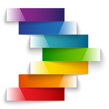 label frame: Colorful rainbow shiny paper stripes banners arrow on white background. RGB EPS 10 vector illustration