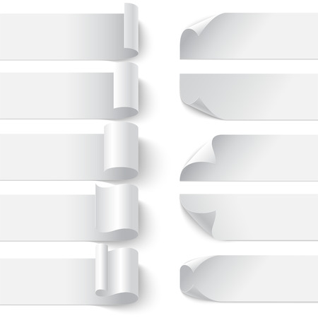 Set of curled blank paper banners with shadows on white background. RGB EPS 10 vector illustration. Can be placed on any background