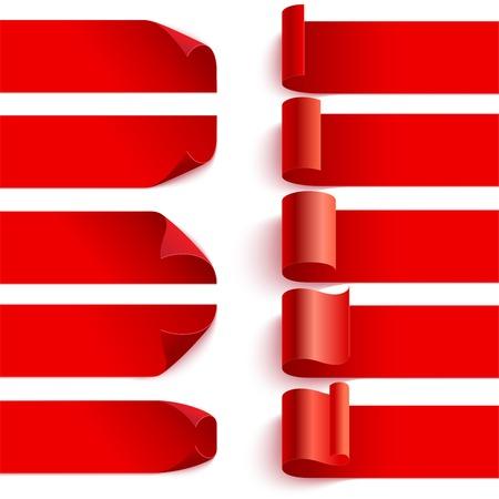 말린 붉은 세트 흰색 배경에 그림자와 리본을 웅크 리고. 삽화. 어떤 배경에 배치 할 수 있습니다