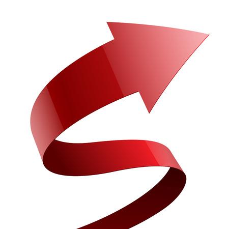 flechas: Aislado rojo tela brillante flecha curva cinta sobre fondo blanco.