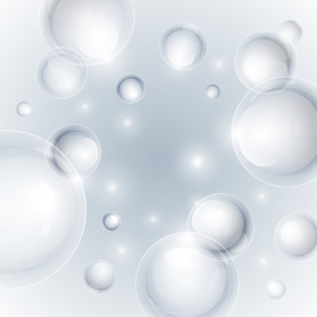 Realistic shiny transparent water drop bubbles on light grey background. Vector