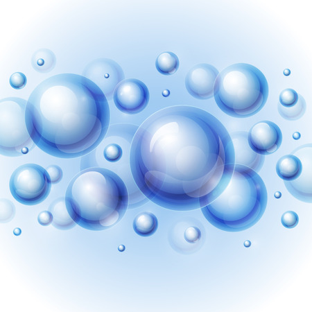 リアルな光沢のある透明な水は、明るい灰色の背景に泡をドロップします。  イラスト・ベクター素材