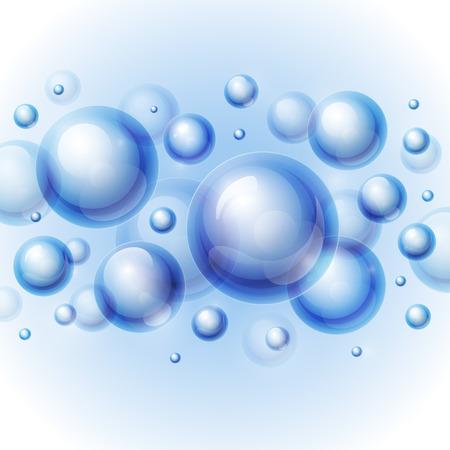 Realistische glanzende transparante waterdruppel bubbels op lichtgrijze achtergrond.