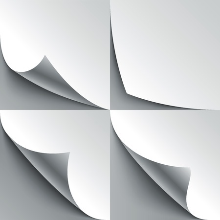 corner tab: Set of curled white paper page corners with realistic shadows. Illustration