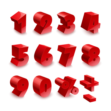 volume: Red shiny 3d thick numbers isolated font on white background. RGB EPS 10 vector elements set Illustration