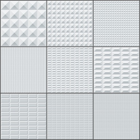grey backgrounds: Abstract white and grey rectangle geometric bricks seamless patterns. RGB EPS 10 vector backgrounds set