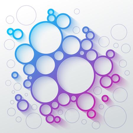抽象的なインフォ グラフィックの青と紫のグラデーションの円白地にカラフルな影とミートボールの形。RGB EPS10 ベクトル図