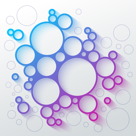 Abstract infographics blue and purple gradient circles meatball shape with colorful shadow on white background. RGB EPS10 vector illustration Illustration