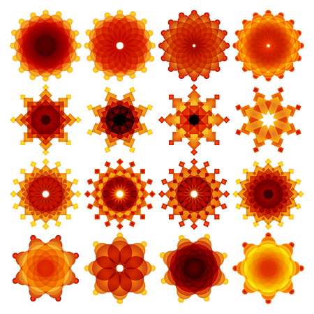 yellow star: 16 Abstract yellow, orange and red blended round and rectangle shape star logos. RGB EPS 10 vector elements set Illustration