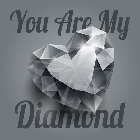 coeur diamant: Brillant isol� forme de coeur de diamant avec des ombres r�alistes sur fond gris. RVB EPS 10 T-shirt vecteur d'impression illustration