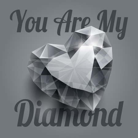 diamond heart: Shiny isolated diamond heart shape with realistic shadow on grey background. RGB EPS 10 T-shirt print vector illustration