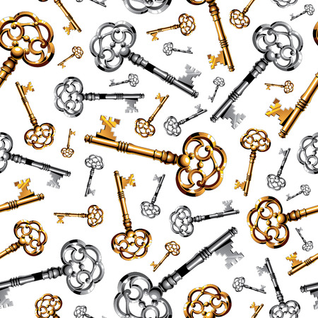 Gold and silver vintage keys on white background seamless pattern. RGB EPS 10 vector illustration