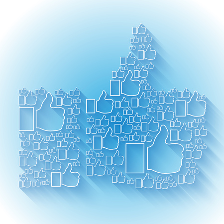 timelines: White Like flat symbol with shadow on light blue background. RGB EPS 10 vector illustration
