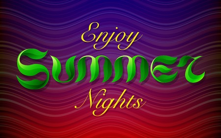 nights: Hand drawn green leafs text ENJOY SUMMER NIGHTS lettering on dark red and purple stripes waves colorful background. RGB EPS 10 vector illustration Illustration