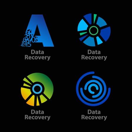 logos de empresas: Conjunto de aislados azul y verde logotipos de la empresa de recuperación de datos en el fondo negro. RGB EPS 10 ilustración vectorial
