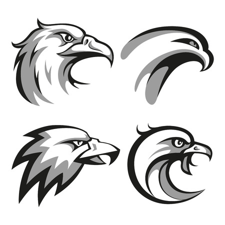 Black and grey eagle head logos set for business or shirt design. RGB EPS 10 vector illustration Vettoriali
