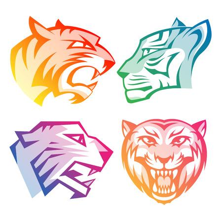 silueta tigre: logotipos de la cabeza del tigre del arco iris de colores con gradientes establecidos en el fondo blanco. RGB EPS 10 ilustración vectorial