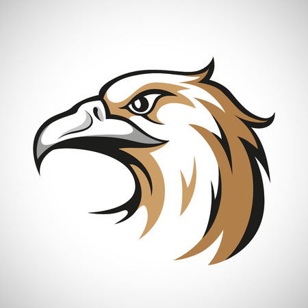 head icon: Black, grey and brown eagle head logotype on white background. RGB EPS 10 vector illustration