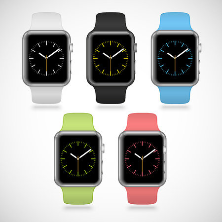 green button: Set of 5 modern shiny sport smart watches with white, black, green, blue and pink plastic bands and digital clock faces isolated on white background. RGB EPS 10 vector illustration