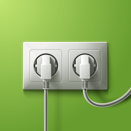 Realistic electric white double socket and 2 plugs on green wall background. RGB EPS 10 vector illustration